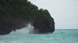 Coast sea in stormy weather. Boracay island Philippines Footage