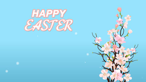 Happy Easter With Blossom Sakura On Blue Background Card or Commercial Template Animation