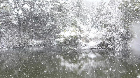 blizzard snow on the lake and forest at Japan Kyoto Footage