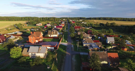 Аerial view of the village and the houses Footage