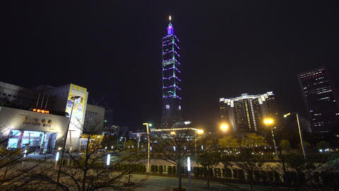 Night view of Taipei 101 building Live Action