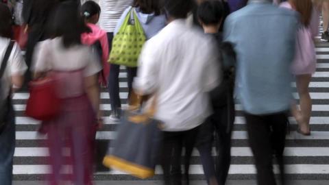 Urban landscape (crosswalk, pedestrian, time lapse, low speed shutter) pan Footage