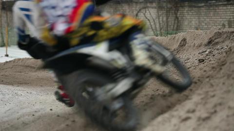 winter motocross steep turn Footage