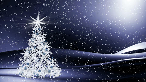 Sparkling decorated Christmas tree shining in the snowy night Animation