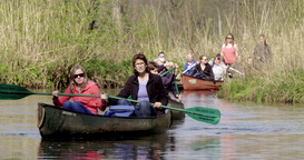 Canoeing Family On River Europe stock footage