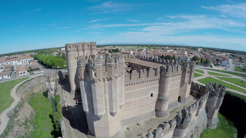 Aerial Video Of Coca Castle (Castillo De Coca) Is A Fortification Constructed In stock footage
