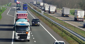 Trucks And Transport At Highway A 67, Netherlands, Europe stock footage