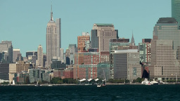 USA New York City 414 View From Liberty Island To Midtown; Empire State Building stock footage