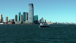 USA New York City 424 Jersey City Goldman Sachs Tower seen from Hudson River Footage