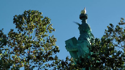 USA New York City 415 statue of liberty between green foliage Footage