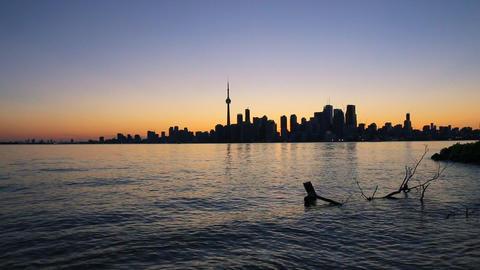 Toronto Skyline and Lake Ontario at Sunset (Canada) Footage