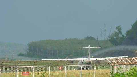 Turboprop aircraft taking off Footage