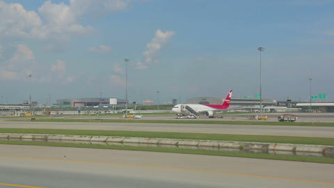 Airplanes In Suvarnabhumi Airport stock footage