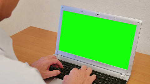 Man With Green Screen Laptop stock footage