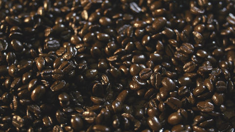 Organic Coffee Bean Pile Close Up Rotating Left Footage