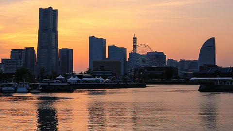 Yokohama Skyline at Sunset, Japan Footage