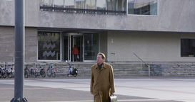 Businessman Leaving Big Office Europe stock footage