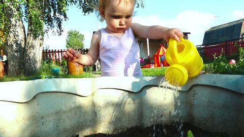 Little baby girl wattering plants Footage