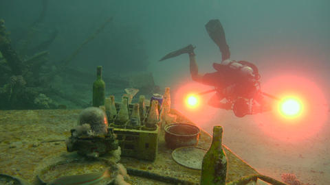 Dive still life on the deck of the sunken ship. Diving in the Red sea near Egypt Footage
