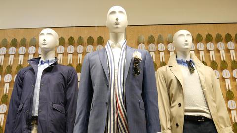 Store Showcase. Mannequin with men's clothes Live Action