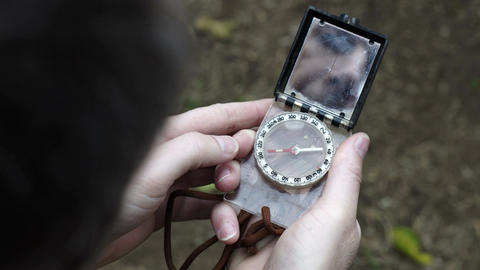 Male Outdoors With Navigation Compass Stock Video Footage