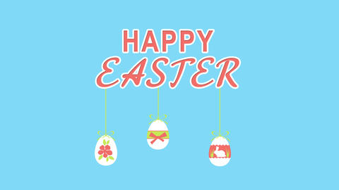 Happy Easter With Fun Eggs On Transparent Background For Greeting Card Or Commer Animation