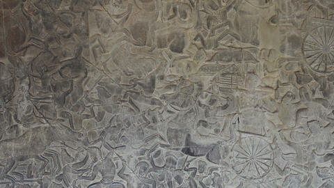 Bas-relief stone carving in Angkor Wat, Cambodia Footage