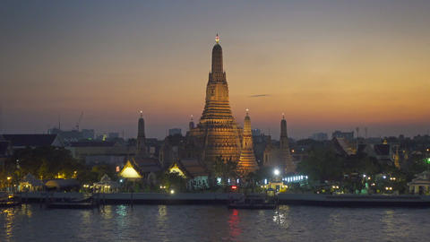 Landscape with Wat Arun at twilight time, Bangkok Footage