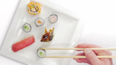Picking and eating Japanese Sushi timelapse Footage