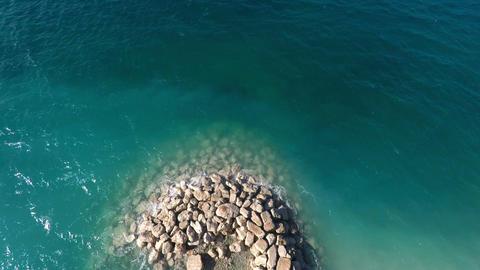 Aerial view at stone coastline Footage
