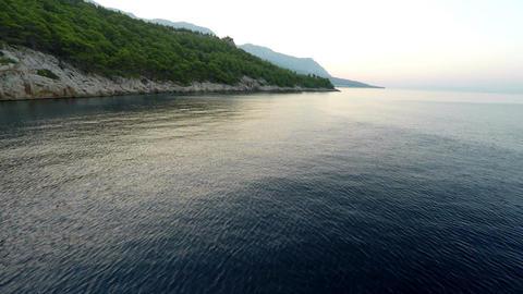 Rocky mediterranean coastline with pine trees Footage