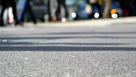 Crowded street crossing Footage