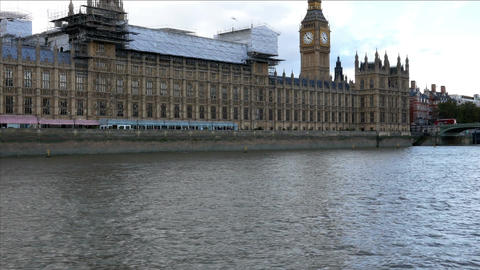House of Parliament and Big ben from the Thames river Footage