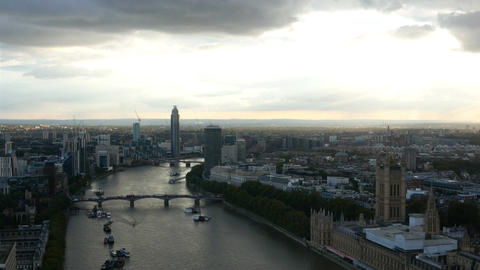 London city and Palace of Westminster aerial view Live Action