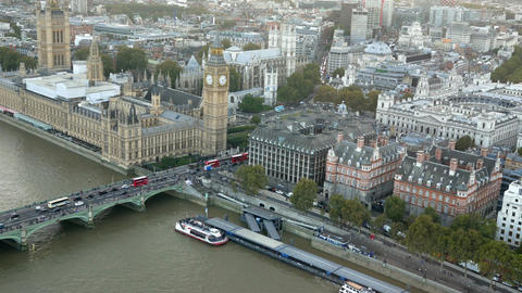 Palace of Westminster and London city aerial view Live Action