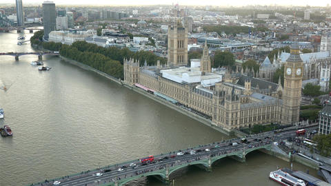 Palace of Westminster and Westminster bridge aerial view