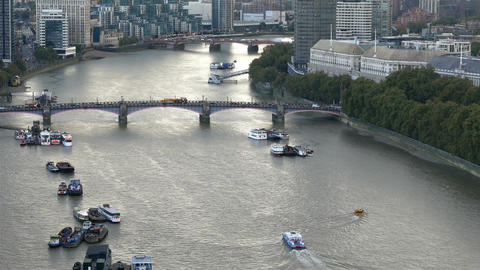 Traffic on Thames river in London Footage