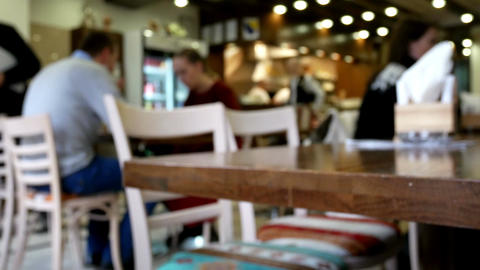 Lunch at restaurant with blurred background Footage