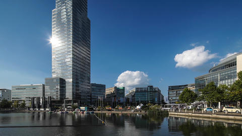 Wideangle View of MediaPark, Cologne, Germany Live Action