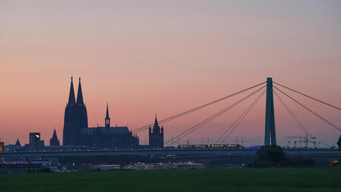 Cologne (Köln) Skyline with the Cathedral, Germany Live Action