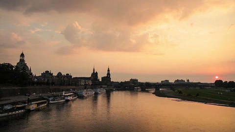 The Skyline of Dresden (Germany) at Sunset Footage