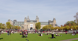 Tourists Enjoying Autumn Sun Amsterdam stock footage