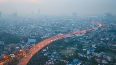 Bangkok Traffic in Smog, Thailand Live Action