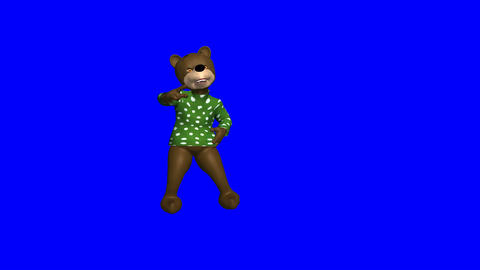 Hip/Hop Bear Dancing on Bluescreen: Loop + Matte Animation