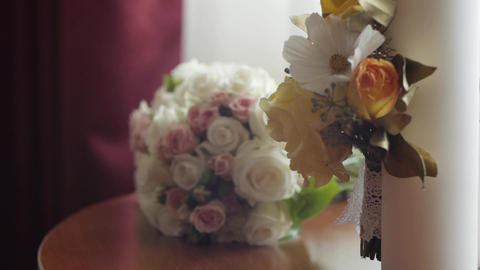 Bridal bouquet and wedding candles 23 Footage