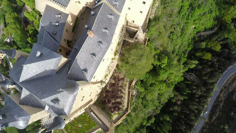 Aerial footage The spanish castle Alcazar of Segovia, in Castilla and Leon, Spai Footage