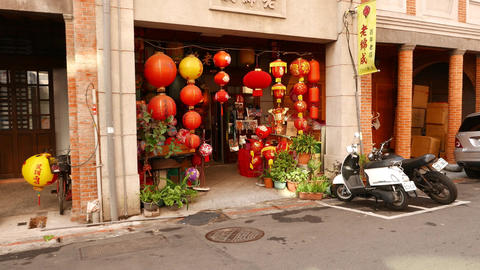 Small shop entrance, decorated with many chinese paper lantern lamps Footage