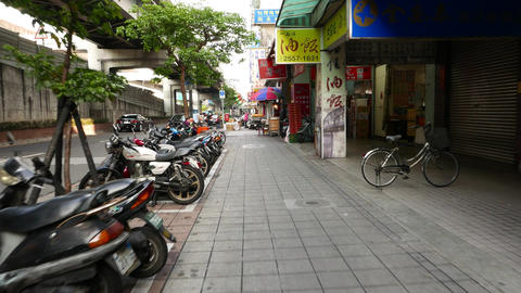 Typical usual empty street of Taipei city, daytime, POV walk forward the sideway Footage