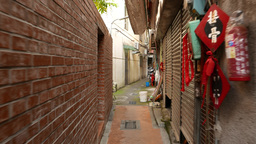 POV walking through tiny bystreet to the main street, Taipei city Footage