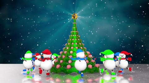 Snowmen skating round the christmas Animation